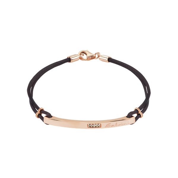 Bracciale in oro rosa 9 KT con diamanti brown (ct. 0,04)