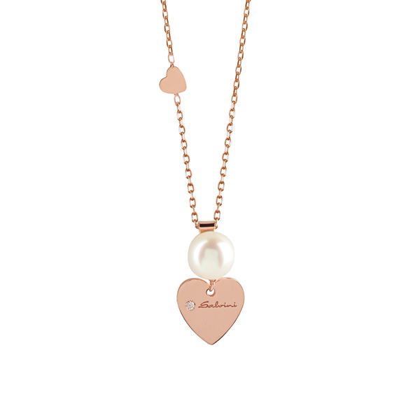 Collier in oro rosa 9 KT con diamante (ct. 0,01) e perla bianca