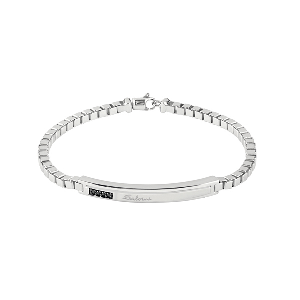 Bracciale in argento con diamanti black (ct. 0,04)
