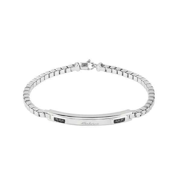 Bracciale in argento con diamanti black (ct. 0,06)