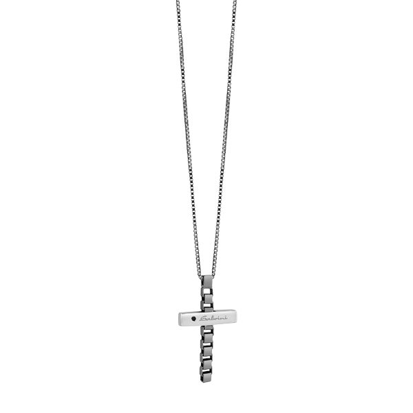 Collier in argento con diamante black (ct. 0,01)