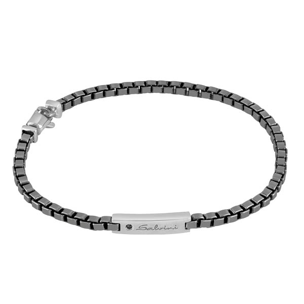 Bracciale in argento con diamanti black (ct. 0,01)