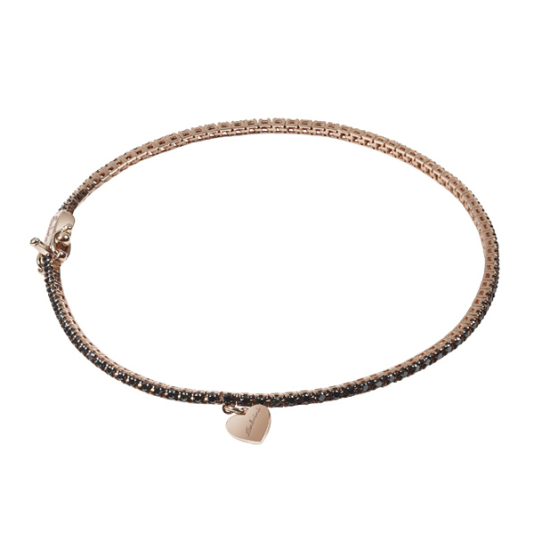Bracciale in oro rosa 9 KT e diamanti black (ct. 0,75)