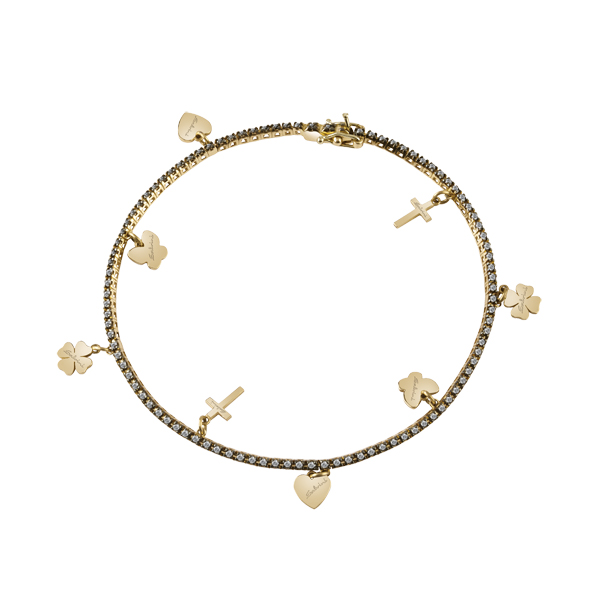 Bracciale in oro giallo 9 KT e diamanti grey (ct. 0,7)
