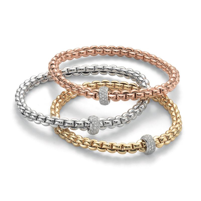 vendita più economica prezzo moderato eccezionale gamma di stili bracciali Fope 721B PAVE Oro Giallo, Oro Bianco, Oro Rosa ...