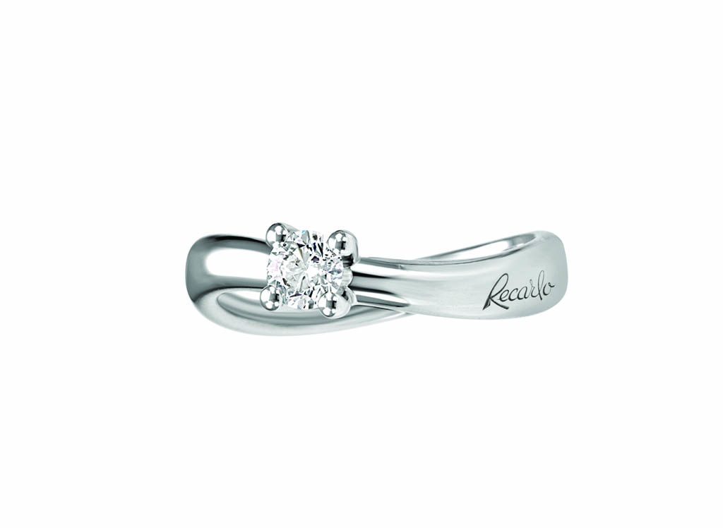 Anello solitario Eternity, oro bianco 18 kt e diamanti