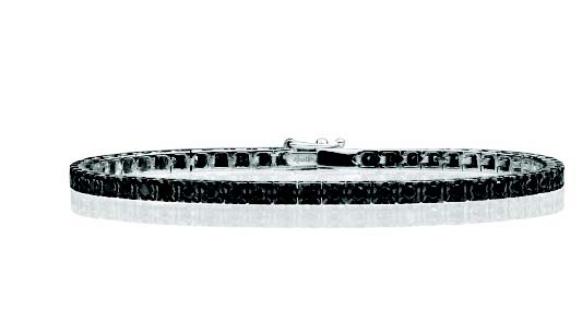 Bracciale Tennis Facet, in oro bianco 18 kt e diamanti black