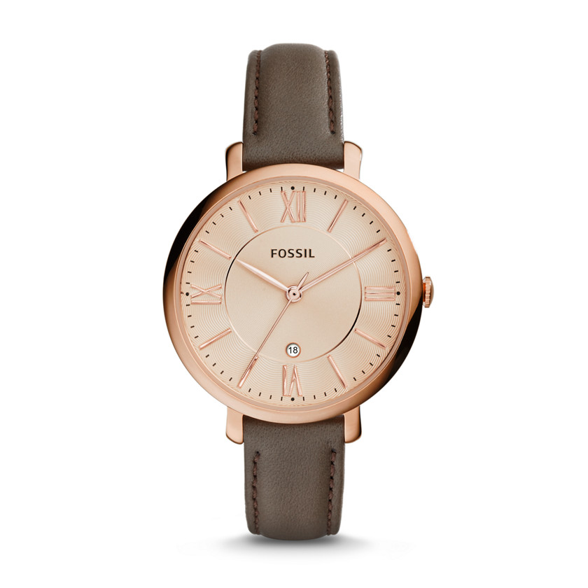 Jacqueline Three-Hand Date Leather Watch - grey # ES3707