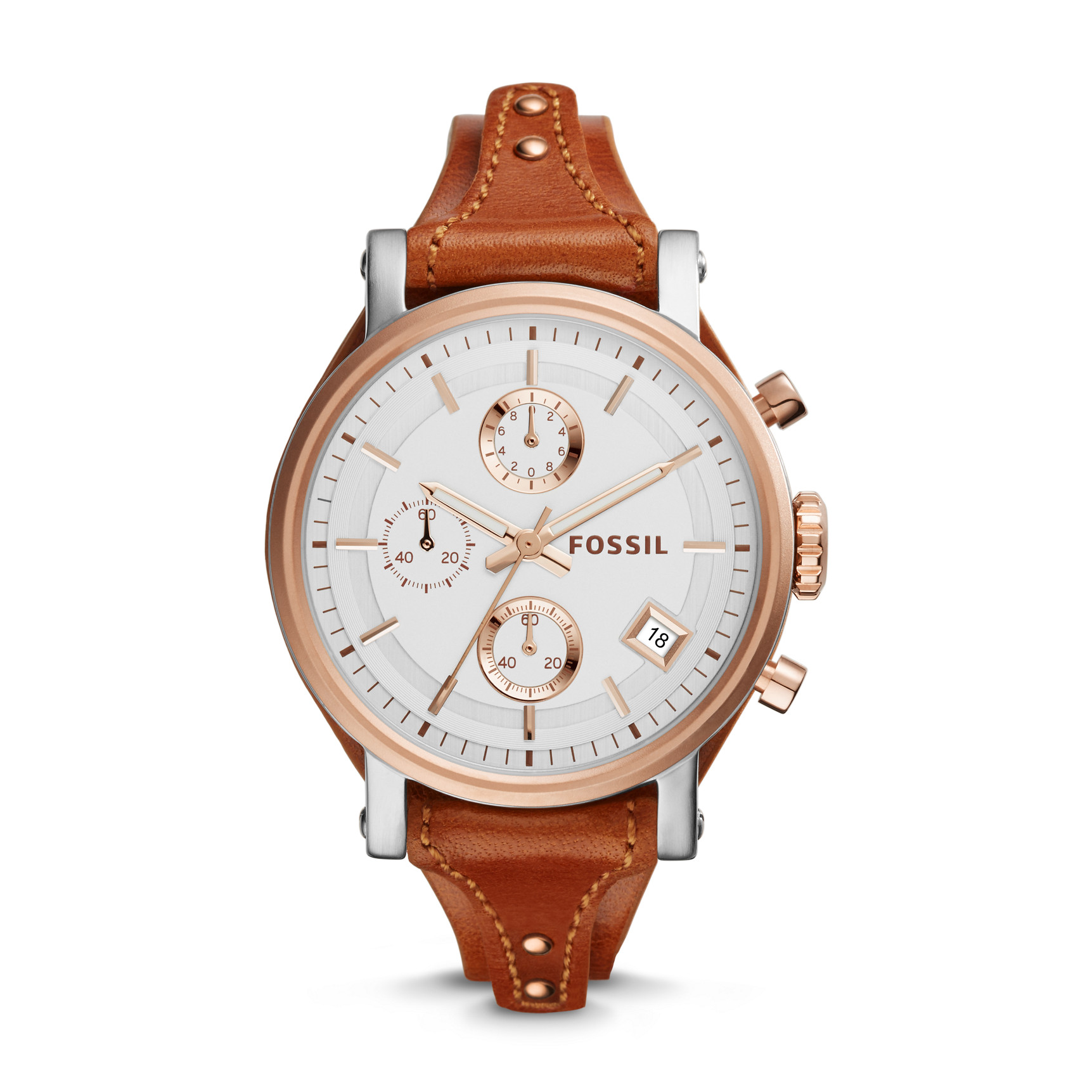 Original Boyfriend Chronograph Leather Watch – ES3837
