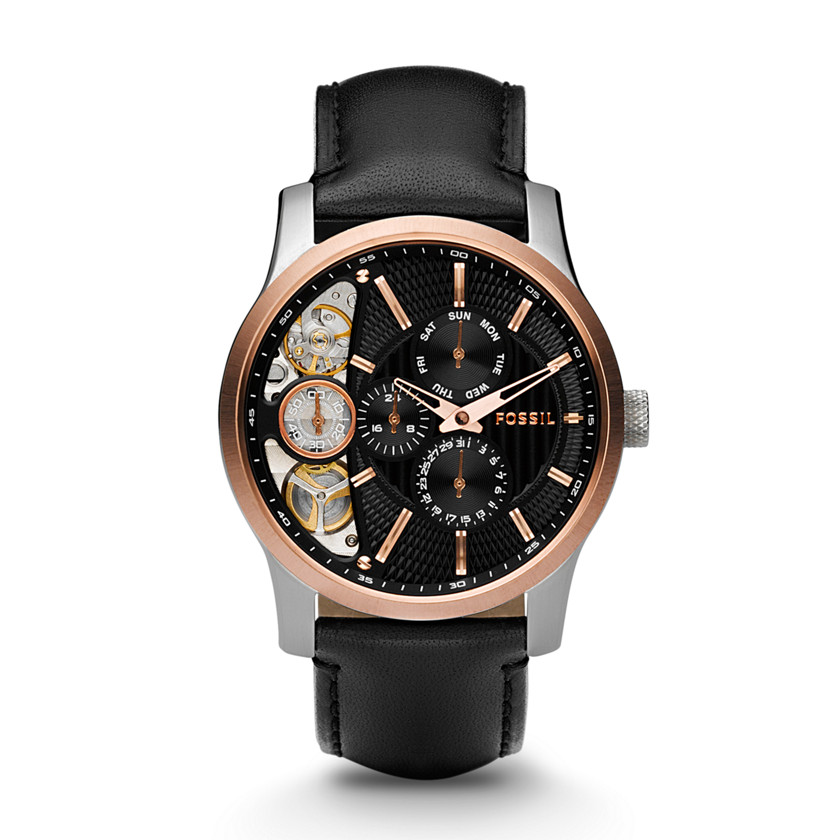 Orologio Fossil Mechanical Twist Black Leather Watch ME1099
