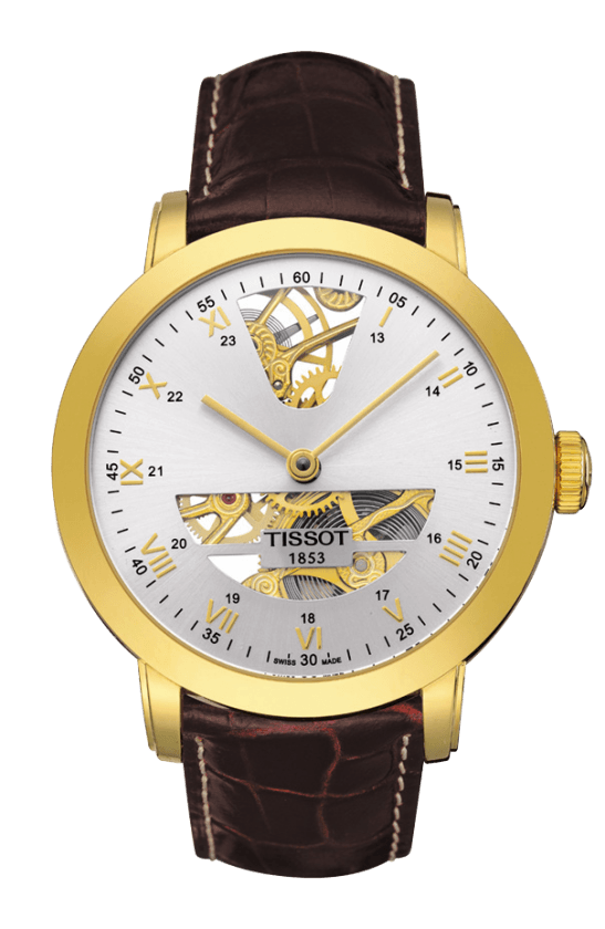 Orologio in oro Tissot SCULPTURE LINE MECHANICAL T71347133